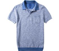 Herren Polo-Shirt Polo Modern Fit Baumwoll-Leinen-Mix bleu-weiß meliert blau