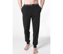 Herren Schlafanzug Pyjamahose Baumwoll-Stretch schwarz
