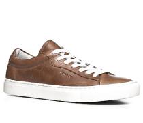 Herren Schuhe Sneaker Leder cognac braun,weiß