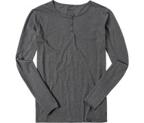 Herren T-Shirt Longsleeve Baumwolle anthrazit meliert grau