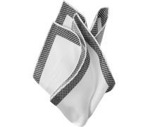 Herren Accessoires  Einstecktuch Seide weiß-schwarz gemustert