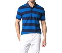 Herren Polo-Shirt Polo Baumwoll-Piqué capriblau-dunkelblau gestreift