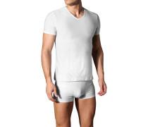 Herren T-Shirt Microfaser weiß gestreift