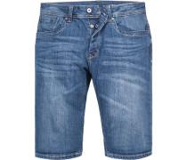 Jeansshorts Straight Fit Baumwoll-Stretch denim