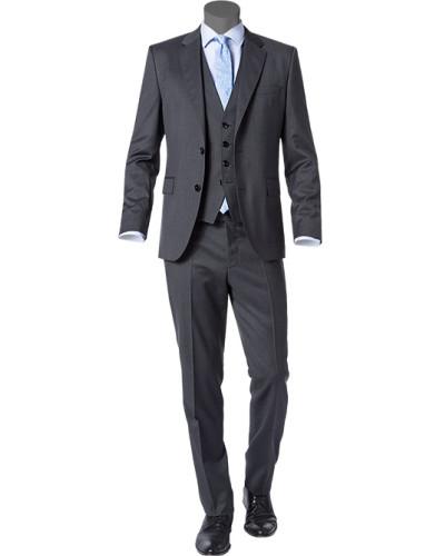 hugo boss herren herren anzug mit weste regular fit schurwolle super120 guabello anthrazit. Black Bedroom Furniture Sets. Home Design Ideas