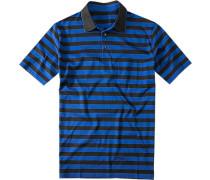 Polo-Shirt Baumwoll-Jersey -schwarz gestreift