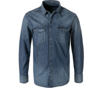 Hemd, Slim Fit, Blue-Jeans, denim