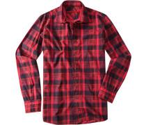 Herren Hemd Regular Cut Baumwolle rot kariert