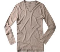 Herren V-Shirt Baumwolle taupe grau