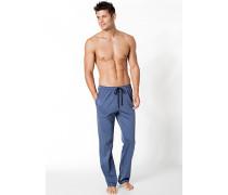 Herren Pyjamahose Baumwolle jeansblau