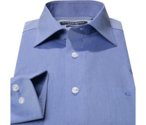 Herren Hemd Regular Fit Chambray Extra kurzer Arm blau meliert weiß