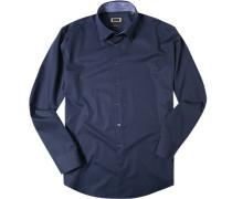 Herren Hemd Modern Fit Strukturgewebe navy blau