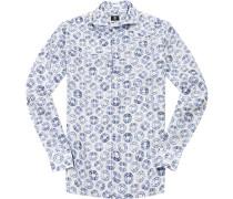 Hemd Modern Fit Leinen weiß- gemustert