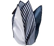 Herren Accessoires  Einstecktuch Seide marine-weiß gemustert blau