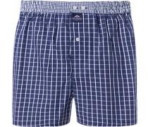 Herren Unterwäsche Boxer-Shorts Baumwolle marineblau-weiß kariert