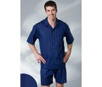 Herren Schlafanzug Pyjama Baumwolle in 7 Farben blau,beige,rot,schwarz,weiß