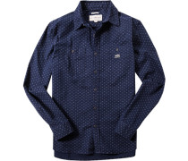 Hemd, Regular Fit, Baumwolle, navy-ecru gemustert