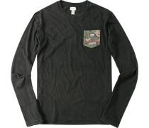 Herren Langarm-Shirt Baumwolle schwarz meliert
