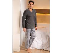 Herren Schlafanzug Pyjama Baumwolle graphit-weiß kariert grau