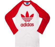 T-Shirt Longsleeve, Baumwolle, feuerrot-weiß