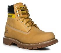 Schuhe Schnürstiefeletten Nubukleder ockergelb