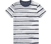 T-Shirt Baumwolle -blau gemustert