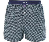 Unterwäsche Boxer-Shorts Baumwolle navy-grün gemustert