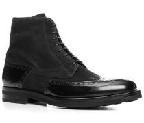 Schuhe Schnürstiefeletten, Kalbleder genarbt, nero