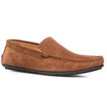 Schuhe Mokassins Velourleder cognac