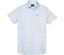 Hemd Popeline bleu-weiß gemustert