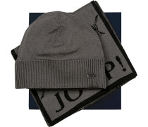 Mütze+Schal in Geschenkbox Schurwolle -schwarz gemustert