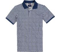 Polo-Shirt Polo Baumwoll-Piqué dunkelblau-weiß gemustert