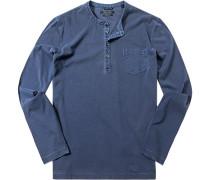 T-Shirt Longsleeve Baumwolle navy meliert