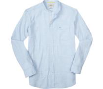 Hemd Regular Fit Baumwolle hellblau gestreift