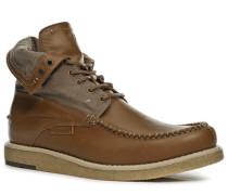 Schuhe Schnürstiefeletten Rindleder-Canvas