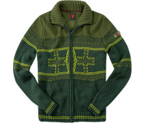 Herren strellson Sportswear Cardigan Gil-J Schurwoll-Mix oliv gemustert grün