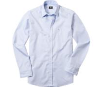 Hemd Baumwolle hellblau-weiß gemustert