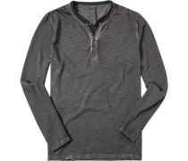 Herren T-Shirt Longsleeve Baumwolle dunkelgrau meliert