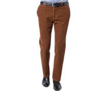 Herren Hose Cord-Chino Modern Fit Baumwoll-Stretch zimtbraun