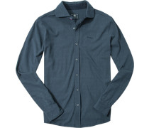 Hemd Baumwoll-Jersey navy-grau gemustert