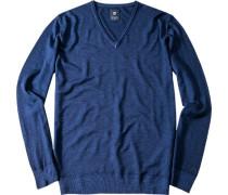 Herren Pullover Schurwolle tintenblau