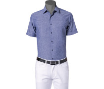 Herren Hemd Leinen-Mix jeansblau meliert