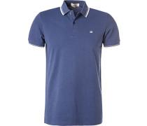 Polo-Shirt Polo Baumwoll-Piqué saphirblau meliert