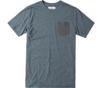 Herren T-Shirt Baumwoll-Mix graugrün meliert