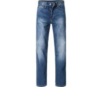Jeans, Regular Straight Fit, Baumwolle, jeansblau