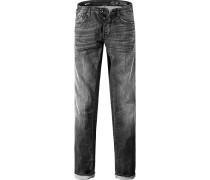 Jeans Straight Fit Baumwoll-Stretch 9 oz anthrazit