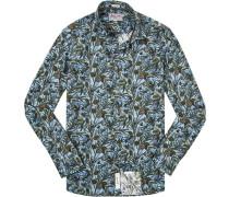 Oberhemd Modern Fit Popeline -grün gemustert