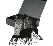 Geschenkbox Gürtel + Schal Leder-Viskose schwarz-grau