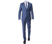 Herren Anzug Slim Fit Schurwolle Super100 blau gemustert