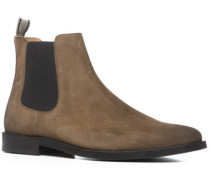 Herren Schuhe Chelsea Boots Veloursleder mittelbraun braun,beige